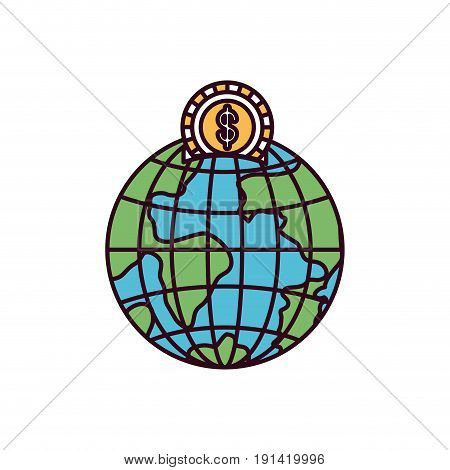 silhouette color sections money box in globe earth world with coin dollar symbol vector illustration