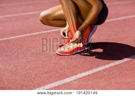 Low section of female athlete tying shoelace on track