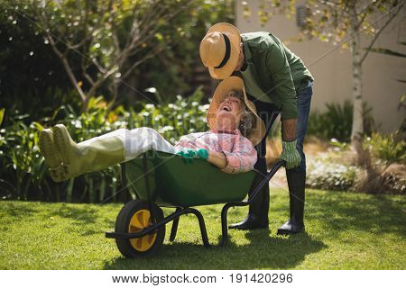 Senior man carrying smiling woman in wheel borrow at yard