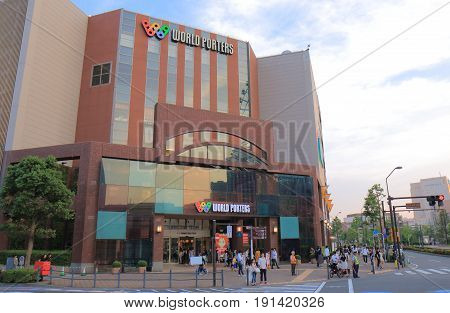 YOKOHAMA JAPAN - MAY 28, 2017: Unidentified people visit World Porters. World Porters is a contemporary hopping mall located in Minato Mirai district.