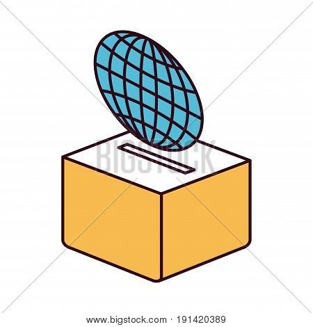 silhouette color sections flat globe earth world chart depositing in a carton box vector illustration
