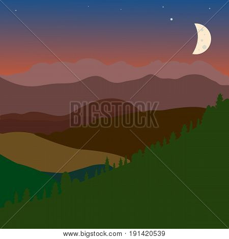 Vector obscure landscape with green brown hills sky and moon