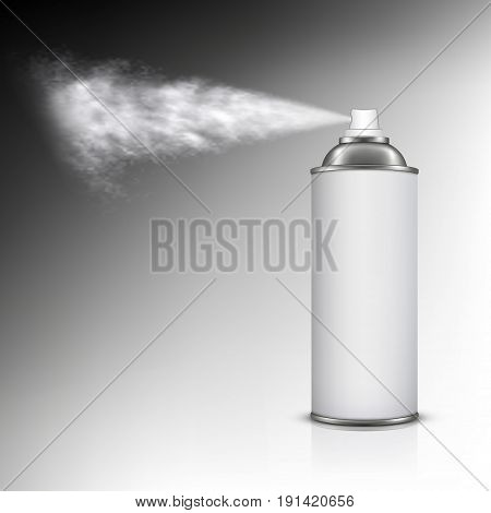 Spraying out of can isolated on white background