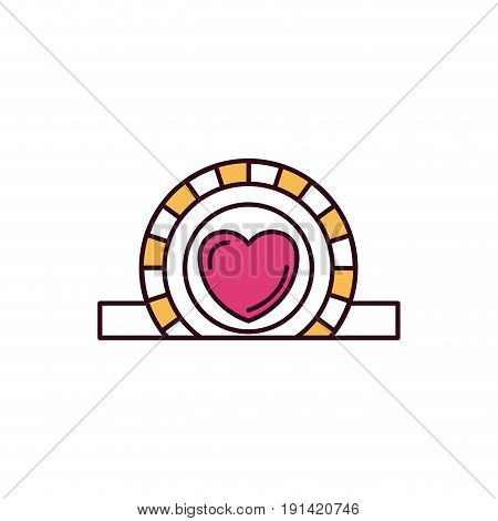 silhouette color sections closeup flat coin with heart symbol inside depositing in rectangular slot vector illustration