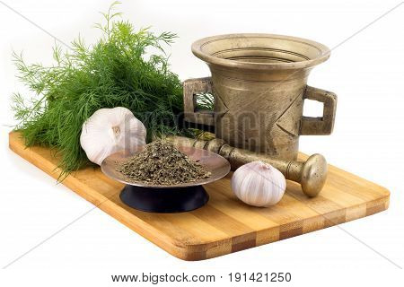Composition Of Spices,celery , Dill, Garlic, Vintage Spice Grinder Isolated On White Background