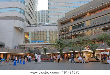 YOKOHAMA JAPAN - MAY 28, 2017: Unidentified people visit Queens Square. Queens Square is a contemporary shopping mall located in Minato Mirai district.