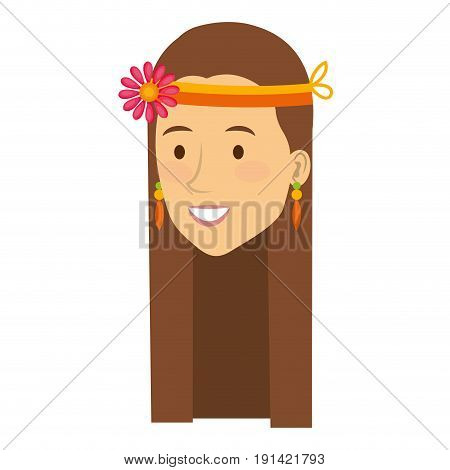 woman with headband character hippy lifestyle vector illustration design