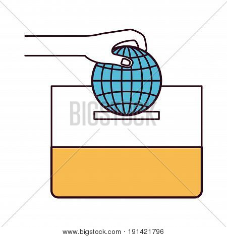 silhouette color sections front view hand with flat globe earth world chart depositing in a carton box vector illustration