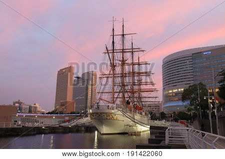 YOKOHAMA JAPAN - MAY 28, 2017: Unidentified people visit Nippon Maru historical ship. Nippon maru is a Japanese museum ship and former training vessel.