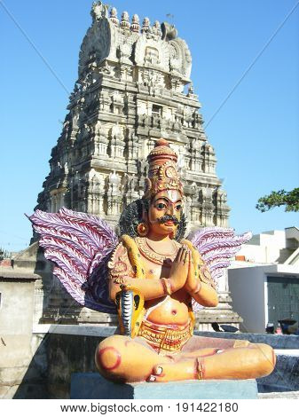 South Indian Hindu temple, Tamil Nadu: Garuda guarding the entrance of the temple