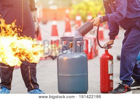 Thai People In The Conflagration Preventive Extinguisher Training Program, Safety Concept.