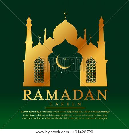 Ramadan kareem with Gold Mosques and moon star in window on green background vector design