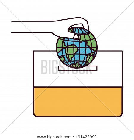 silhouette color sections front view hand with flat globe earth world depositing in a carton box vector illustration