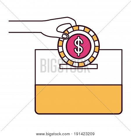silhouette color sections front view hand with flat coin with dollar symbol depositing in a carton box vector illustration