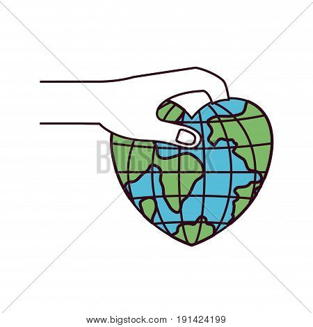 silhouette color sections side view of hand holding a earth globe world in heart shape to deposit vector illustration