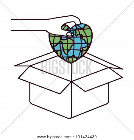 silhouette color sections side view of hand holding a globe earth world in heart shape to deposit in cardboard box vector illustration