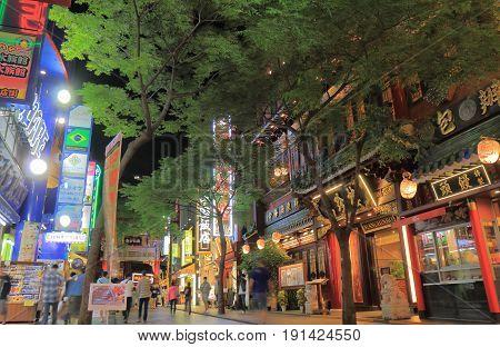 YOKOHAMA JAPAN - MAY 28, 2017: Unidentified people visit Chinatown. Yokohama Chinatown is the bidets Chinatown in Japan.