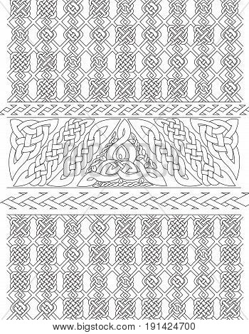 Coloring book page for adults of an abstract Celtic background design.