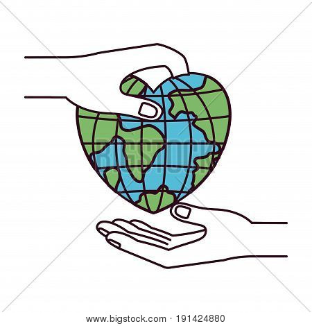 silhouette color sections side view of palm human holding a earth globe world in heart shape to deposit in other hand vector illustration