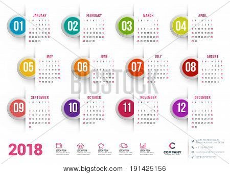 Calendar For 2018 Year. Vector Design Stationery Template. Week Starts On Sunday. Flat Style Color V