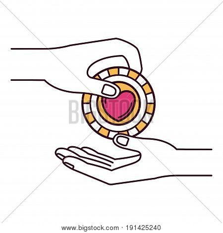 silhouette color sections side view of palm human holding a coin with heart shape inside to deposit in other hand vector illustration