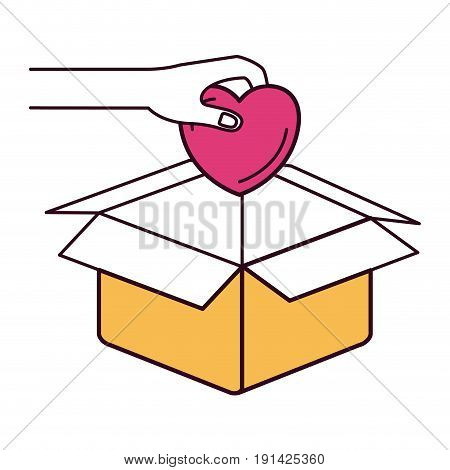 silhouette color sections hand holding a heart to deposit in cardboard box vector illustration