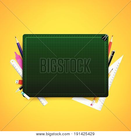 Blank green cutting board with color pencil pen ruler and stationary element vector illustration with copy space