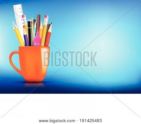 Orange stationary mug with pen pencil eraser marker on dark background for back to school concept vector illustration eps10