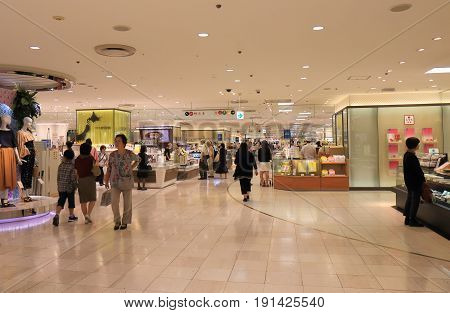 YOKOHAMA JAPAN - MAY 29, 2017: Unidentified people visit Sogo. Sogo is a Japanese department store chain that operates an extensive network of branches in Japan founded in 1830.