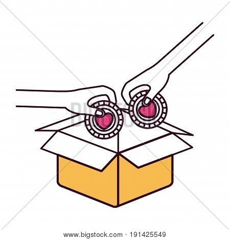 silhouette color sections side view of pair hands holding a coins with heart shape inside to deposit in cardboard box vector illustration