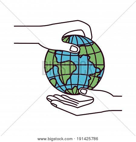 silhouette color sections side view of palm human holding a earth globe world charity symbol to deposit in other hand vector illustration