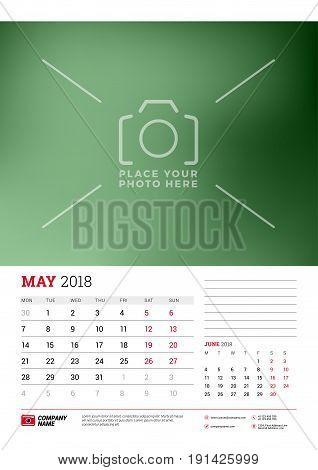 Wall Calendar Planner Template For 2018 Year. May, June. Vector Design Print Template With Place For