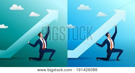 Change of the direction of the movement of business to success. The businessman lifts an arrow, the business, a concept. Flat vector illustration. On green and blue.
