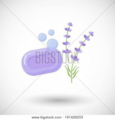 Lavender soap with bubbles vector flat icon Flat design of bathroom hygiene or beauty object with round shadow vector illustration with shadow