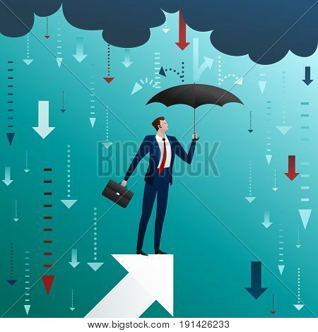 The businessman with an umbrella on the rising arrow. Successful business management and protection during crisis and problems. Flat vector illustration.