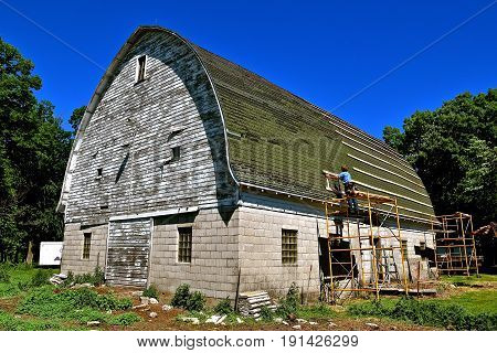 The first step in laying stringers  by an unidentified Amish laborer on an old barn for the covering of a metal roof.