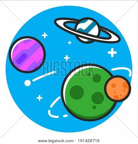 Planet space Icon illustration design graphic vector