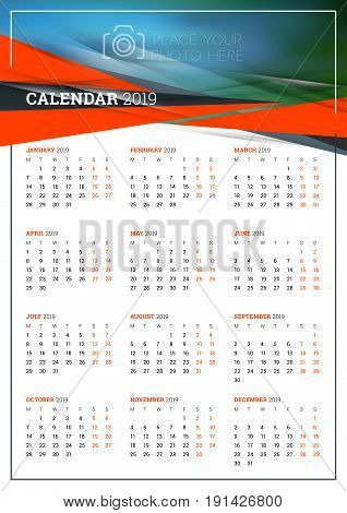 Vector calendar poster A3 size for 2019 Year. Week starts on Monday. Stationery design template with abstract background and place for photo