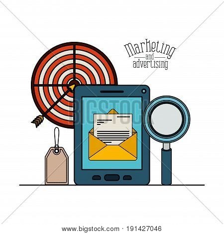 white background with colorful set smartphone symbol message email with loupe and target for marketing and advertising vector illustration