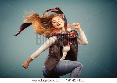 Joyful Girl In Autumn Season Clothing