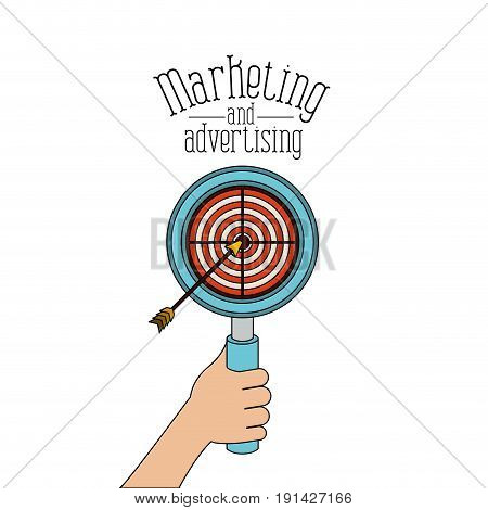 white background with loupe with target and arrow marketing and advertising vector illustration