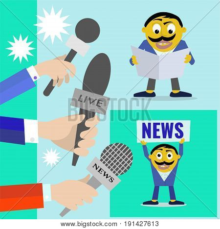 vector set icon Reporters with microphones of radio and television news program concept.