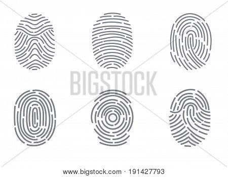 Finger print vector icons set illustration isolated on white background