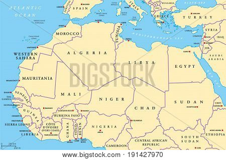 North Africa Countries Political Map With Capitals And Borders. From  Atlantic Shores Of Morocco To
