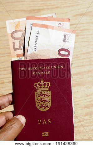 kastrup/Copenhagen /Denmark - 16 June 2017. _European passport and Euro currency traving decuments. (Photo.Francis Joseph Dean/Deanpictures)