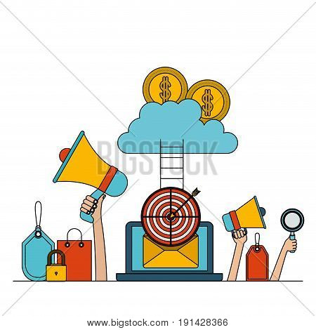 white background set colorful laptop with stairs to cloud storage money security vector illustration
