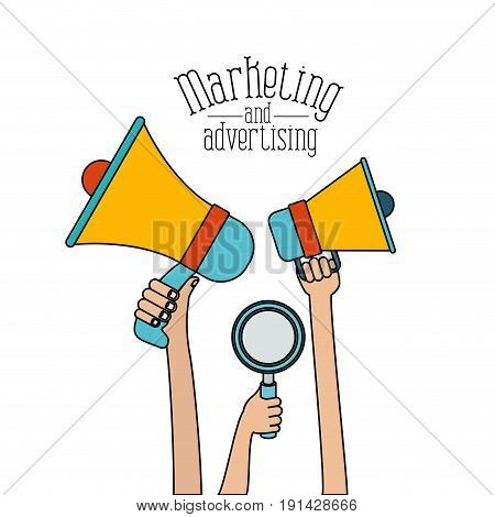 white background set colorful hands holding megaphones and loupe marketing and adversiting vector illustration