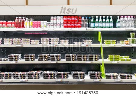 Cold Food And Beverage Displayed On Multideck Fridges At Itsu In Canary Wharf, A British Chain Of As
