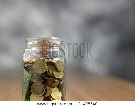 close up of the saving jar