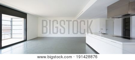 wide living room with kitchen. Nobody inside